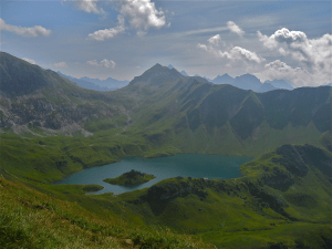 Schrecksee Lake with Lahnerscharte, Germany